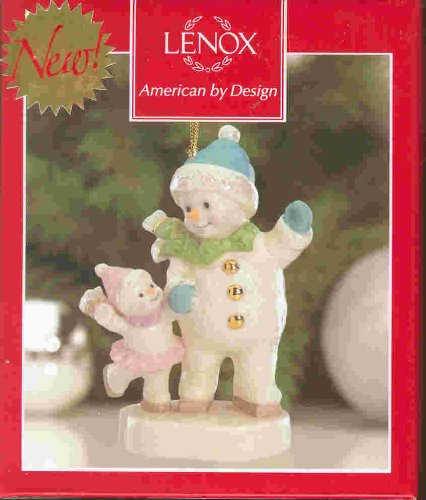 LENOX SNOWMAN ADULT and CHILD ORNAMENT