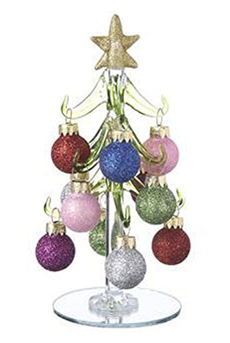 Colorful Glittery Ornaments on Glass Christmas Trees by Ganz