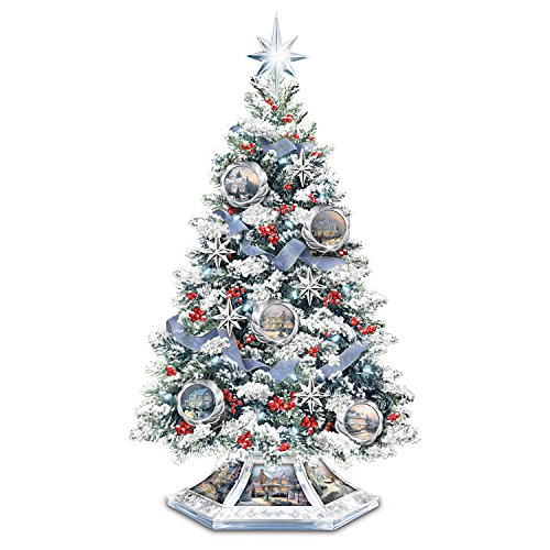 Thomas Kinkade Musical Christmas Tabletop Tree With Crystal Base: Lights Up by The Bradford Exchange