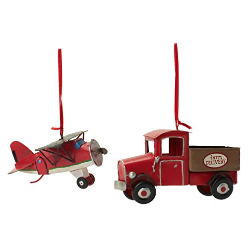 Vintage Transit Ornament 2 Pc Set (Propeller Plane and Truck)