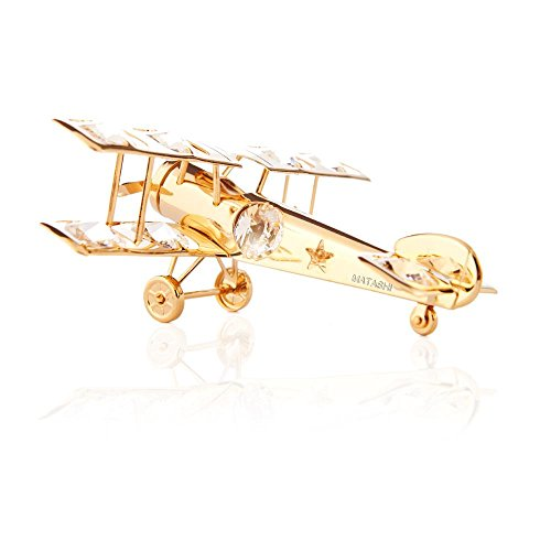 24k Gold Plated Airplane Ornament Made with Swarovski Elements Crystals By Charming Temptations