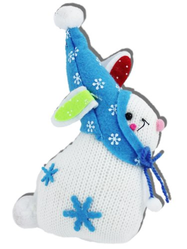 White Knit Snow Bunny Christmas Ornaments with Blue Felt Hat, Crafted Charm Collection (Set of 4)