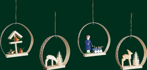 Hanging Christmas Tree Ornament Assorted, 4 Pieces, 2.8 Inches