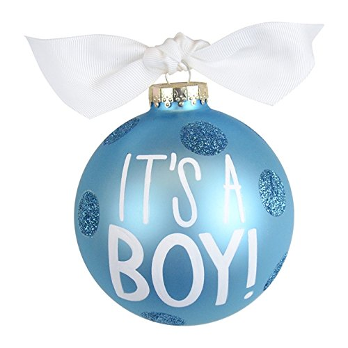 It's a Boy Large Dot Glass Ornament