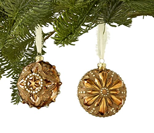 Sage & Co. XAO16945GD Glass Tarnished Metal Ornament Assortment, 3.5-Inch