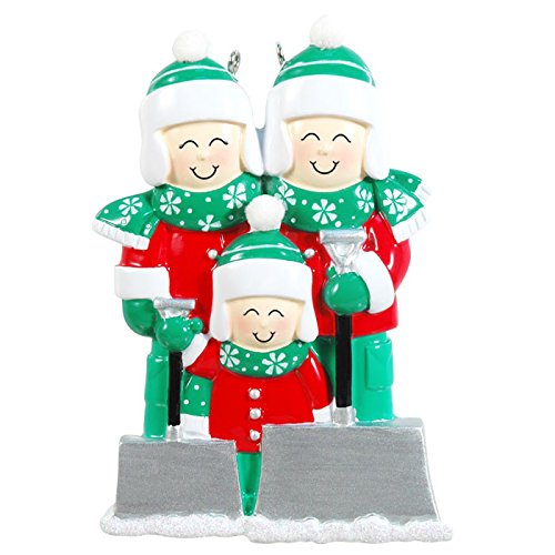 Family of 3 Shoveling Snow Personalized  Christmas Ornament
