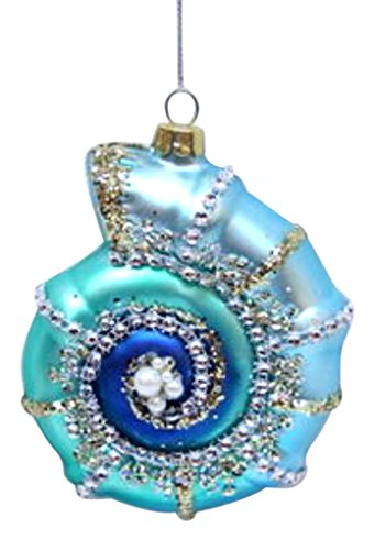 December Diamonds Blown Glass Ornament – Blue Snail Shell