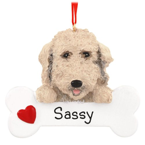 Labradoodle with Bone Ornament