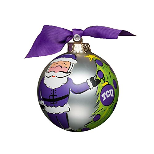 Glory Haus TCU Santa Glass Ornament, 4-Inch