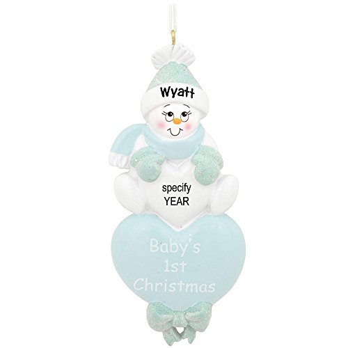 Personalized Baby Heart Blue Snowman Holiday Gift Expertly Handwritten Ornament