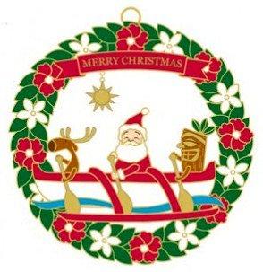 Hawaiian Metal Christmas Ornament Santa's Outrigger Canoe