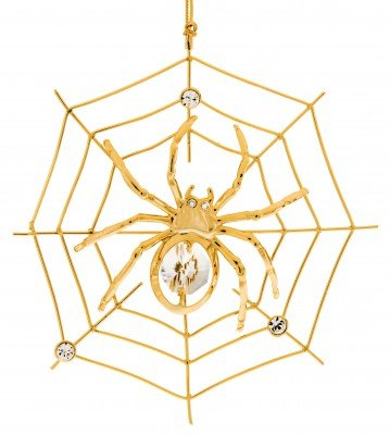 Spider Web Holiday Ornament Crystal and Gold Plated – Gift Boxed