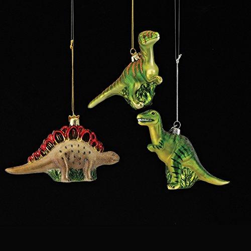 5.25-5.5″ Noble Gems Glass Dinosaur Ornament 3/asstd: T-rex, Stegosaurus & Velociraptor.