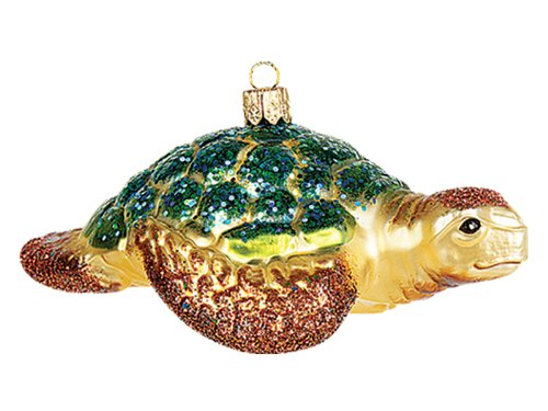 Sea Turtle Polish Mouth Blown Glass Christmas Ornament