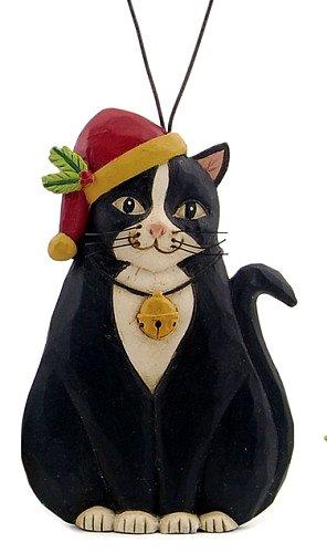 Blossom Bucket Black & White Tuxedo CAT in Santa Hat w/ Holly Resin Ornament