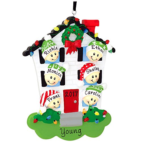 Personalized House With Family Of 6 Ornament