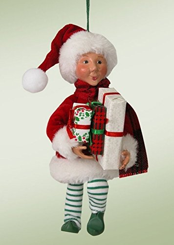 """6.5″ Kindles """"Wraps with Presents"""" Poseable Elf Figure Christmas Tree Ornament"""