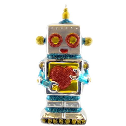 Holiday Ornament HEARTBOT ORNAMENT Glass Christmas Robot Love TT0193 YELLOW