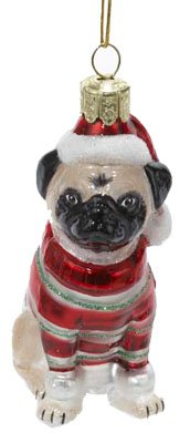 Kurt Adler 3-1/2-Inch Noble Gems Glass Pug Ornament