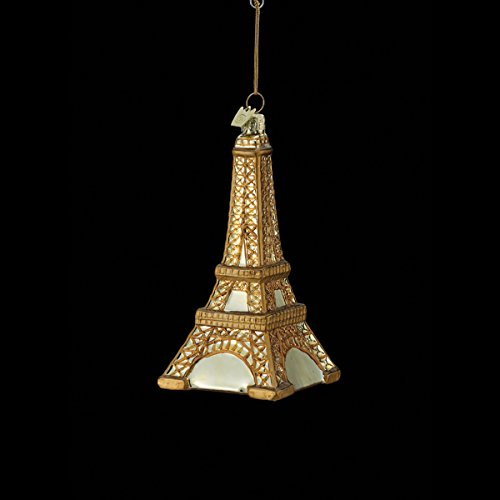 5″ Noble Gems Gold Eiffel Tower of Paris, France Glass Christmas Ornament
