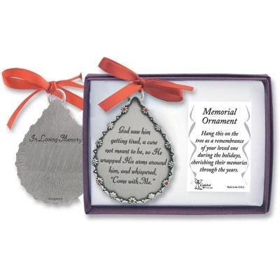 Cathedral Art CO514 God Saw Him Getting Tired Teardrop Memorial Ornament, 2-3/4-Inch