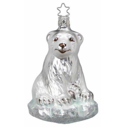 "Inge Glas Polar Bear Christmas Ornament ""Sitting Winter Bear"" 68921"