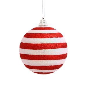 Vickerman Christmas Trees N100710 Assorted Shape Candy Cane Stripe Ball Ornament, 80mm, Red/White, Set of 4