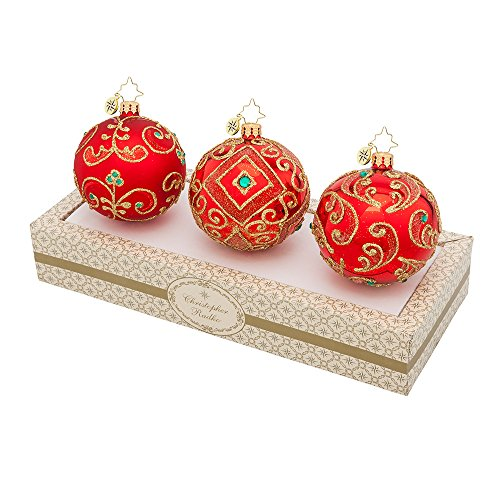 Christopher Radko Boxed Glass Ball Ornaments Red with Green