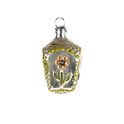 "Vintage mouthblown Christmas Miniature glass ornament ""Basket with flower"" orange by MAROLIN® Germany"