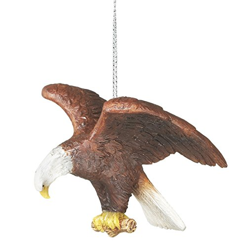 Bald Eagle Perched Wings Spread Resin Stone Christmas Tree Ornament