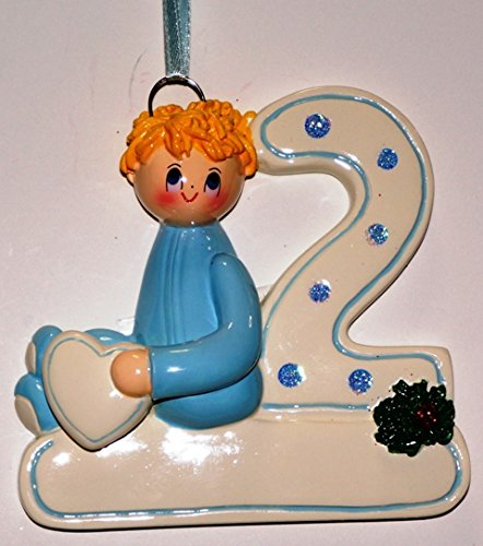 2nd Christmas Boy Blonde Personalized Christmas Tree Ornament