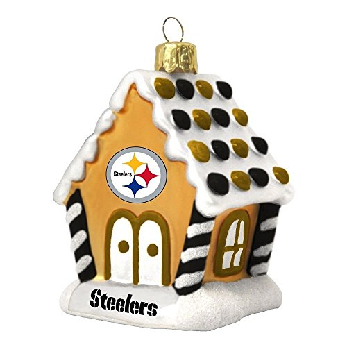 NFL Pittsburgh Steelers Gingerbread House Glass Christmas Ornament Decoration