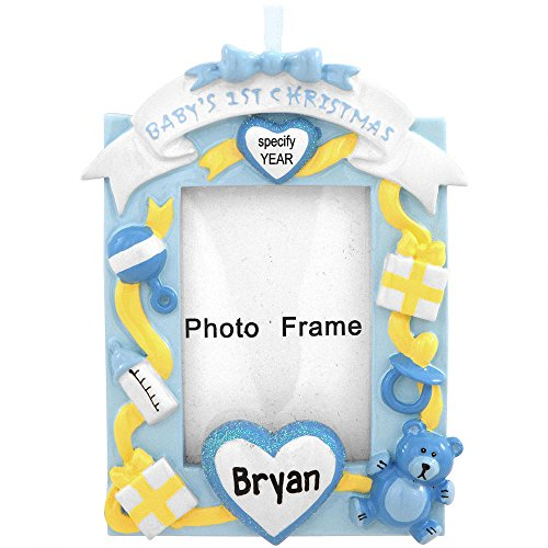 Baby's First Christmas Picture Frame Blue Ornament