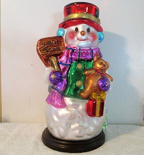 Thomas Pacconi 16 inch tall Snowman from 2003 HTF Hand Painted Blown Mercury Glass Ornament