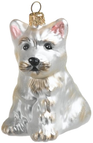Westie Dog Christmas Ornament (White) created by European artisans for ORNAMENTS TO REMEMBER