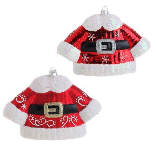 RAZ Imports – Glass Santa Suit Ornaments 6″