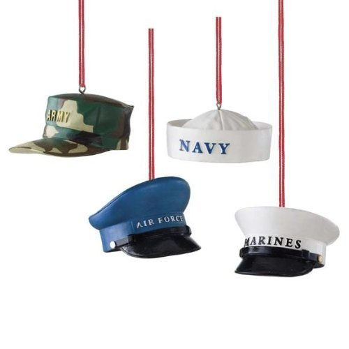 MIDWEST CBK Military Hat Christmas Ornament, SET OF 4