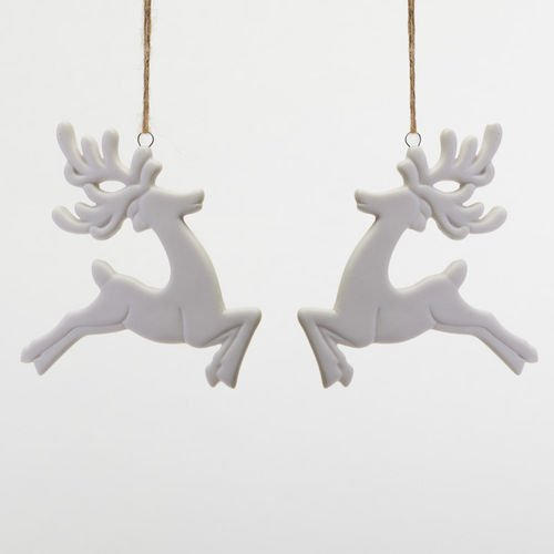 One Hundred 80 Degrees Deer Silhouette White Porcelain Ornament set of 2 , 4.5″