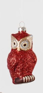 180 Degrees Owl Ornament, Red