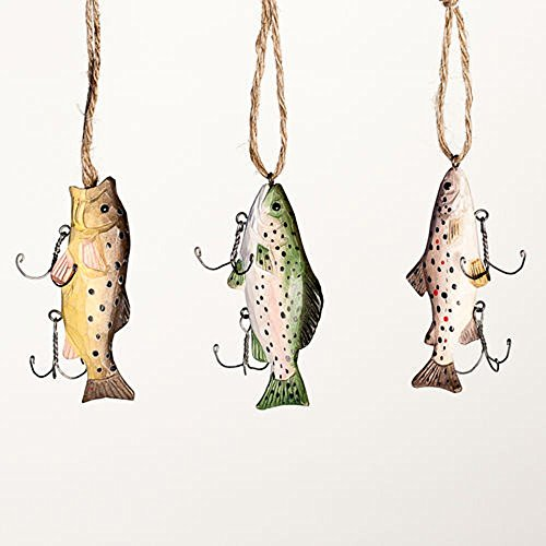 Christmas Holiday Assorted Wooden Fish Ornaments Set of 3