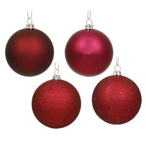 Vickerman Christmas Trees N591019A 12-Piece Ball Assorted Ornament Set, 100mm, Wine