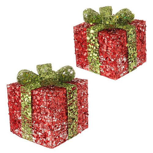 RAZ Imports 9″ & 7″ Lighted Christmas Present Set of 2 Red Packages with Green Bow 3414469