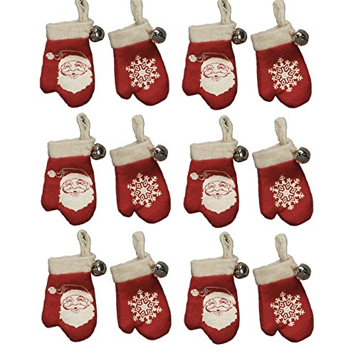 Nostalgic Vintage Retro Red Knit Mitten Ornaments with Jingle Bells – Set of 12