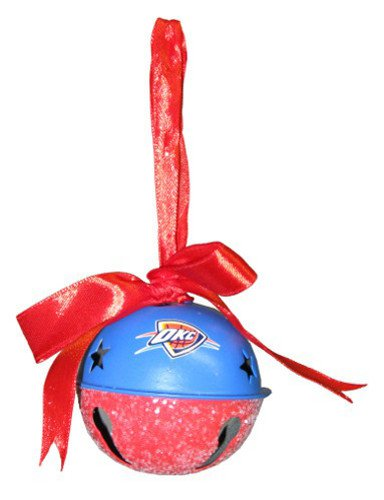 Oklahoma City Thunder NBA Basketball Metal Glitter Bell Christmas Ornament