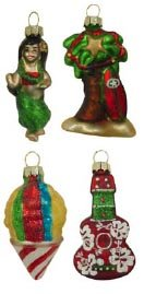 Hawaiian Christmas Ukulele, Hula Girl, Palm Tree, Shave Ice Mini Glass Ornaments – Set of 4