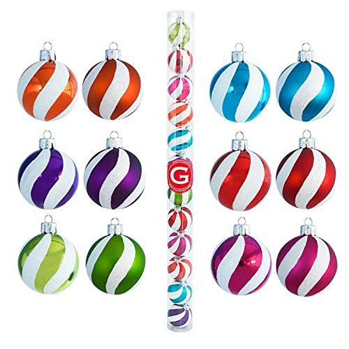 Glitterville Colorful Stripes Christmas Ornaments – Set of 12