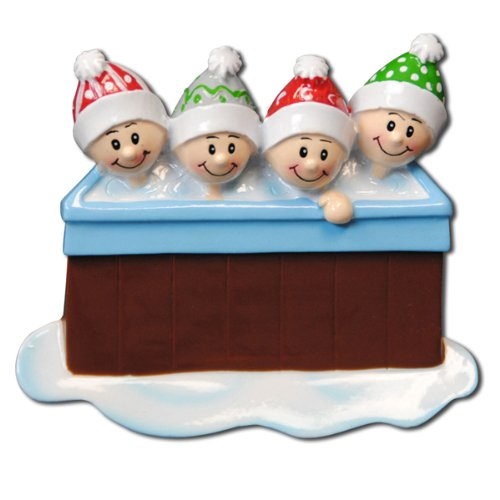 Personalizable Christmas Ornament Hot Tub Family of 4