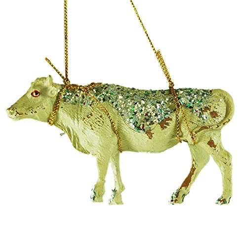 Glitter Cow Resin Hanging Christmas Tree Ornament