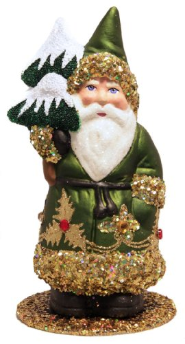 Ino Schaller Santa in Green Coat and Gold Trim with Christmas Tree Paper Mache