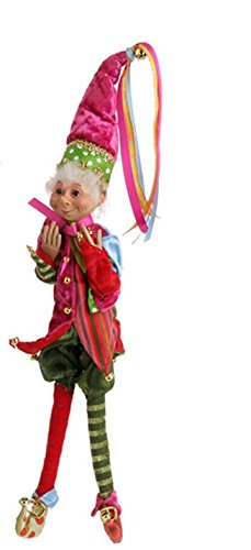 RAZ Imports – Merry & Bright – Multicolored 15″ Christmas Decoration Elf (Pink Hat)